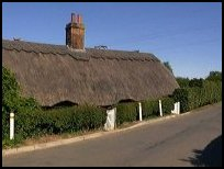 A thatched cottage.